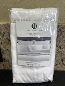 (1)Hotel Collection Ladder Hemstitch Pique Solid KING Sham, White,  $125- New