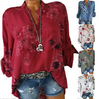 Womens V Neck Floral Print Loose Blouse Tops Long Sleeve Shirt Beach Plus Size