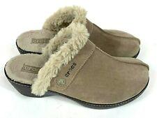 Crocs Mule Style Clogs Tan Suede Faux Fur Lined Women's Sz 10 / #11602