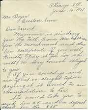1907 Handwritten Letter CHICAGO ILLINOIS TO CRESTON IOWA Two Sided Letter