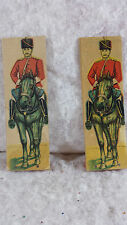 """Three Antique Toy Cossack Soldiers Paper on Wooden Stands 6.5"""" Tall"""