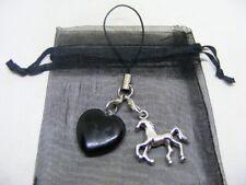 Natural Black Obsidian Heart & Horse Mobile Phone / Handbag Charm