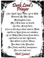 Satanic Dark Lord's Prayer Rare New Age Goth Pagan Pentagram Magic Devil Spirit