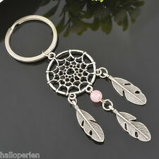 1PC Retro Dull Silver Dreamcatcher&Feather&Pink Beads Charm Keychain