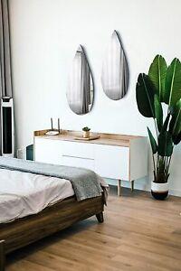 Wood Furniture Minimalist Modern Tear Drop Shaped Wall Mirror With Black Manufac