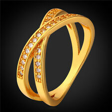 18K Real Gold Plated Cubic Zirconia Crossing Band Ring Women's Wedding Jewelry