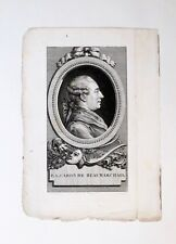 Eau forte et burin, Portrait de Beaumarchais,Le Roy d'après Cochin, XVIIIe