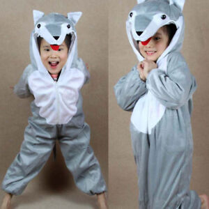 Halloween Party Costumes Children Kids Animal Wolf Costume Jumpsuit for Girl Boy
