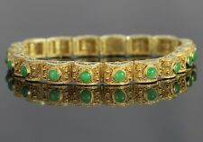vintage vecchio stile 14k oro giallo naturale cabochon giada verde FILIGRANA