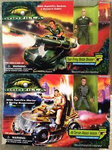 Godzilla Twin Firing Battle Blaster & All Terrian Attack Vehicle ! Vintage 1998