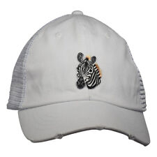 Zebra Head Distressed Polo Style Hat - White Curved Bill Snapback