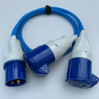 16 amp Plug to 2 x 16 amp Sockets 240v 2 Way Y Splitter Caravan Hook Up BLUE 16a