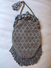 Antique Victorian Art Nouveau French Steel Micro Bead Chatelaine Kilt Purse #348