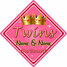 Personalised Child/Baby On Board Car Sign ~ Twins On Board ~ Pink