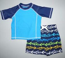 FLAPDOODLES® Baby Boys' 24M Shark Swim Shorts & Rashguard Shirt Set NWT $50