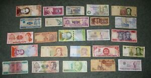 Circulated Lot of 25 Foreign Banknotes World Paper Money Currency Plus BONUS!