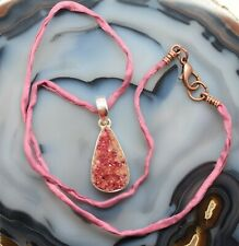Cobalt Calcite Teardrop Pendant .925 Sterling Silver Rose Colored Silk Chain 18""