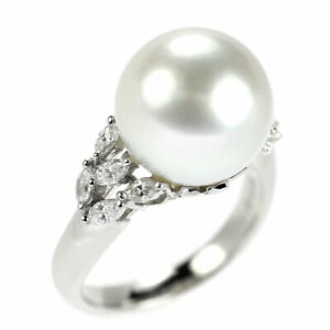 Pt900 White Butterfly Pearl/Pearl Diamond Ring Diameter Approx. 12.2mm D0.46ct