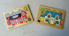"Two Vintage 1970's Fisher Price Pegged ""Peek"" Puzzles, Barn and House"