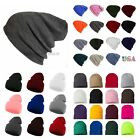 Men Women Knit Plain Beanie Cap Ski Sports Winter Cap Cuff Slouchy Warm Hat