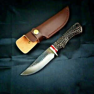 Straightback Knife Hunting Tactical Combat Forged Damascus Steel Antler Handle S