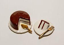 Chocolate Cake & A Pice On A Plate Miniature Salt & Pepper Shakers.
