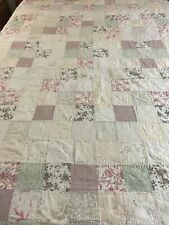 """French Country Farmhouse Vintage Floral Patchwork Quilt 88"""" x 85"""" Queen #191"""