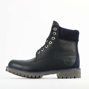 "Timberland 6"" Inch Premium Luxe Mens Navy Blue Waterproof Leather Boots W/L"