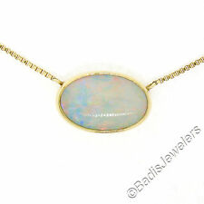"Vintage 14K Yellow Gold 16"" Bezel Set Fiery Oval Opal Solitaire Pendant Necklace"
