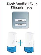 Funkklingel Komplett-Set  m-e Maag Electronic Zweifamilien Haus Bell silber