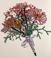 French Beaded Glass Flowers Handmade Bouquet Pink Violet