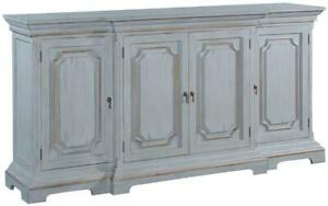 SIDEBOARD EDWARD PEWTER FINISH SOLID WOOD GOLD ACCENTS 4- DOOR BREAKF