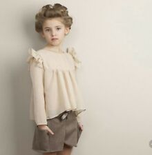 New boutique mandys wish outfit set shorts blouse shirt brown ivory girls 7