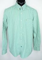 Lacoste Men's Size 40 Green White Striped Long Sleeve Button Down Shirt