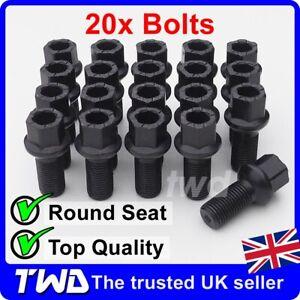 20x BLACK ALLOY WHEEL BOLTS - VW (M14x1.5) RADIUS SEAT LUG STUD NUTS 17MM [20S]