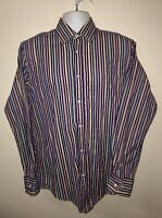 Bugatchi UOMO Mens Striped Long Sleeve Button Down Shirt Size M