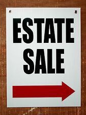 ESTATE SALE with ARROW POINTING TO THE RIGHT 18x24 Coroplast Sign w/Grommets
