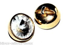 très beau BOUTON vintage en métal doré et gros cristal blanc QUALITE 13mm