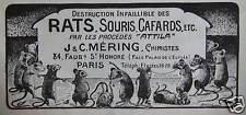PUBLICITÉ 1925 ATTILA DESTRUCTION INFAILLIBLE DES RONGEURS RATS SOURIS CAFARDS