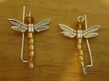 Pair Gold Sterling Silver Filled Dragonflies Ear Vines, Sweeps, Pins Earrings