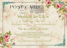 PERSONALISED VINTAGE TEA PARTY POSTCARD WEDDING INVITATIONS PACKS OF 10