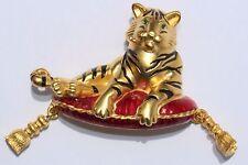 BOB MACKIE 18 K Gold Plated Enamel Tiger Big Cat Figural Pin Brooch