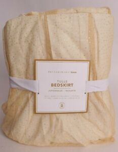 NWT Pottery Barn PB Teen Gold Tulle bed skirt, queen