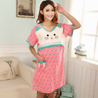 Pregnant Women Short Sleeve Dress Nursing Clothes Cute Cat Maternity Pajama