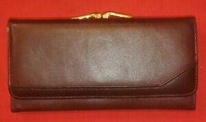 BUXTON Ladies Clutch Wallet Brown Soft Leather Snap Coin Section
