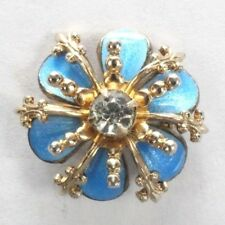 Brooch Pin - Small Flower Fleur De Lis - Blue Enamel White Rhinestone Gold Tone