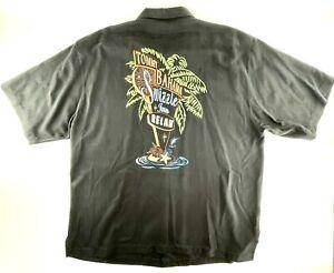 Tommy Bahama Hawaiian Camp Shirt Mens XL Silk Embroidered Sizzle Inn EUC