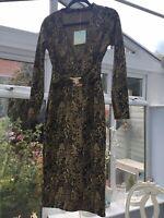 Missguided Mustard & Black Snake Plunge Clasp Detail Midi Dress Size UK 10