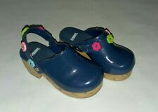 Gymboree 2012 Smart And Sweet Navy Blue Flower Strap Clog Shoes Girls Sz 9 VEUC