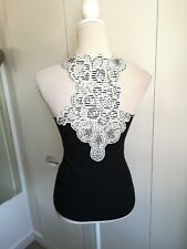 Karen Millen Size 14/16 Black Ivory Embroidered Detail Vest Top